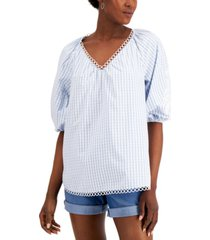 charter club petite cotton puff-sleeve striped blouse, created for macy's