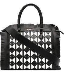 blumarine geometric-panelled frayed tote bag - black