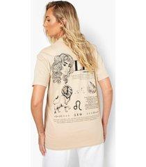 leo sterrenbeeld t-shirt met rugopdruk, ecru