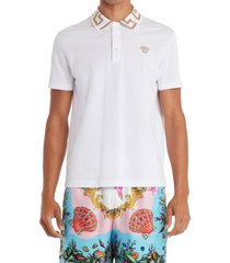 versace metallic medusa applique cotton polo shirt, size xxx-large in bianco ottico at nordstrom
