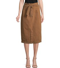 tie-front cotton knee-length skirt