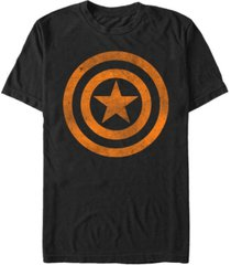 marvel men's captain america distressed orange shield logo short sleeve t-shirt