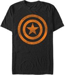 marvel men's captain america distressed orange shield logo short sleeve t-shirt