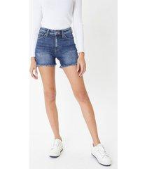 kancan women's high rise frayed hem shorts