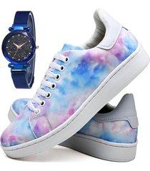 tênis sapatênis fashion tie dye com relógio sky feminino dubuy 734el colorido