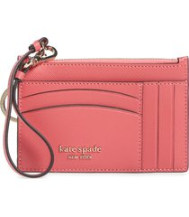 kate spade new york spencer leather wristlet card case in orchid at nordstrom