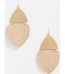 maurices womens gold hinge feather drop earrings beige