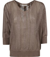 fabiana filippi glitter applique stripe v-neck sweatshirt