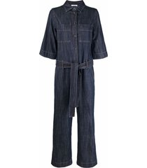 p.a.r.o.s.h. chambray denim jumpsuit - blue