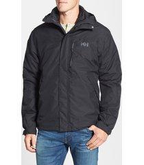 men's helly hansen squamish 3-in-1 water repellent hooded jacket, size medium - black