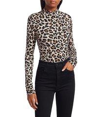 andamane women's beth leopard-print turtleneck top - camel - size s