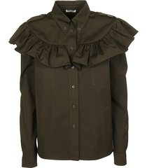 miu miu ruffled trim shirt