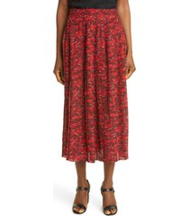 women's valentino le rouge print pleated silk crepe de chine skirt, size 12 us - red