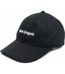 palm angels man black baseball cap with white embroidered logo