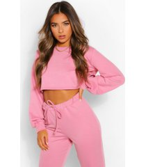 petite crop sweater, pink