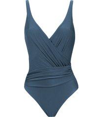 lygia & nanny maísa wrap style swimsuit - blue