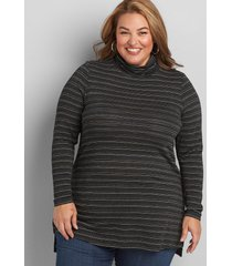 lane bryant women's striped turtleneck tunic 22/24 black