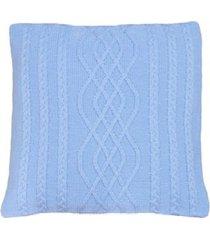 capa almofada tricot 40x40cm c/zãper sofa trico cod 1026 azul bebe - azul - feminino - dafiti
