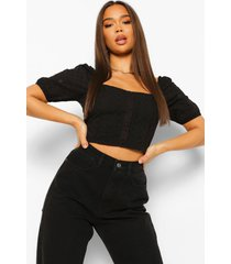 broiderie anglaise crop top met knopen, black