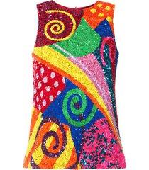 manish arora swirl patchwork sequinned top - multicolour