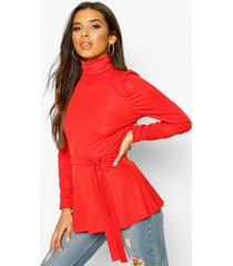 belted peplum long sleeve top, coral