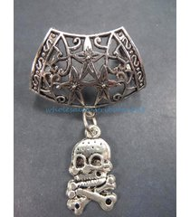 us seller-skull cross bone slider pendant jewelry scarf women