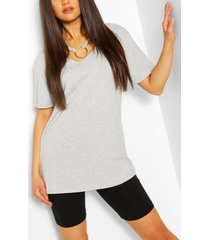 ring detail cut out shape t-shirt, grey marl