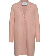 women cocoon coat light pressed wool wollen jas lange jas roze harris wharf london