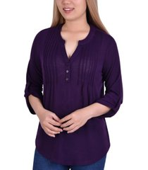 women's 3/4 sleeve roll tab pin tucked front pullover