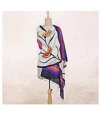 silk shawl, 'amber lilies' (india)