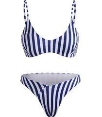 striped high cut cami bikini swimwear