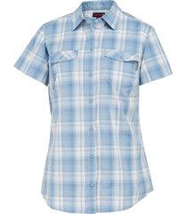 wolverine women's brook short sleeve shirt cornflower plaid, size s