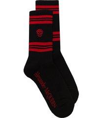 alexander mcqueen skull motif sport socks - black
