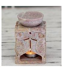 soapstone oil warmer, 'agra owls' (india)