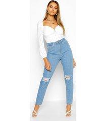 high waist distressed mom jeans, light blue