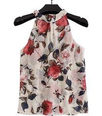 camicetta allentata casual con stampa floreale sulla spalla