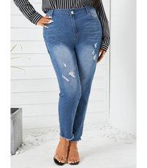 bolsillos laterales de talla grande con rasgado al azar pantalones