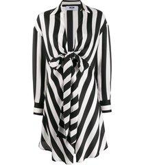 msgm striped tie waist draped dress - black