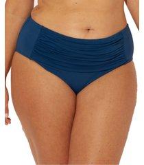 bleu rod beattie plus size shirred tummy control bikini bottoms women's swimsuit