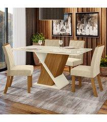 mesa de jantar 4 lugares carol nature/off white/linho - bci móveis