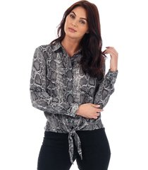 womens snake print tie front blouse
