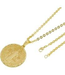 kit medalha são bento com corrente tudo jóias cadeado folheado a ouro 18k