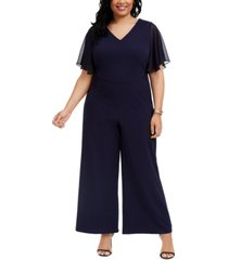 connected plus size flared chiffon-sleeve jumpsuit