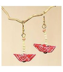 recycled paper and terracotta dangle earrings, 'red boats' (ghana)