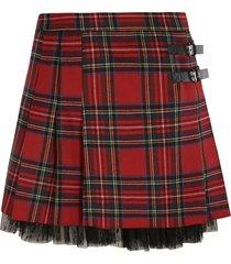 red valentino lace hem check pattern flared skirt