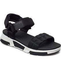 haylie quilted cube back-strap sandals shoes summer shoes flat sandals svart fitflop