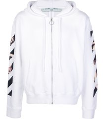 off-white caravaggio arrow slim zipped hoodie