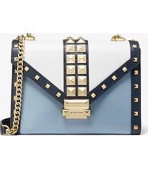 mk borsa a spalla whitney convertibile grande in pelle tricolore con borchie - navy/bianco/blu pallido (blu) - michael kors