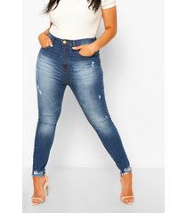plus power stretch jeans met super hoge taille, middenblauw