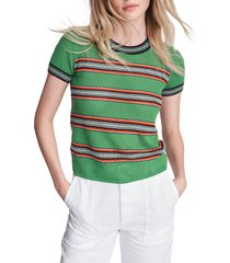 women's rag & bone darcie stripe t-shirt, size large - green